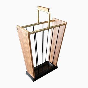 Mid-Century Brass & Wood Umbrella Stand