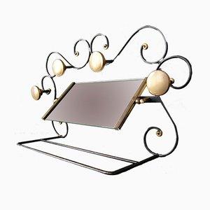 Perchero Art Déco de hierro forjado, vidrio y latón
