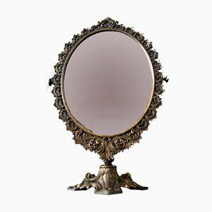 Espejo de mesa giratorio de latón, años 70