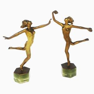 Esculturas de bailarina Art Déco de bronce de Josef Lorenzl, 1925. Juego de 2