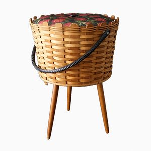 Large Wicker Sewing Basket, 1950s