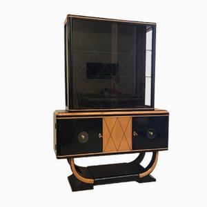Art Deco Vitrine in Black-Lacquered Maple, 1930s