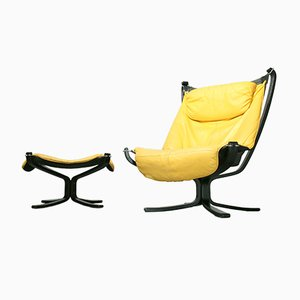 Vintage Yellow Leather Falcon Chair & Footstool by Sigurd Ressell for Vatne Møbler, 1970s