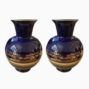 Italian Blue Ceramic Vases, 1950s, Set of 2