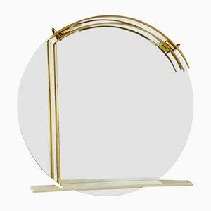 Specchio in ottone con 2 luci, anni '70