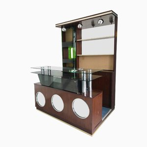 Mueble bar italiano portátil con tres luces, años 70