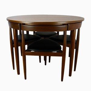 Modell Roundette 630 Set mit Esstisch und Stühlen von Hans Olsen für Frem Røjle, 1950er