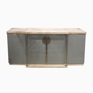 Glass & Travertine Sideboard by Maison Jansen, 1970s