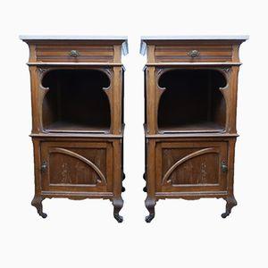 Vintage Walnut Continental Bedside Cabinets, Set of 2