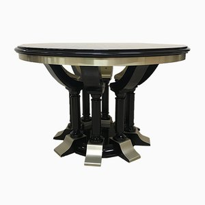 Round Dining Table in Chrome & Black Lacquered Wood, 1970s