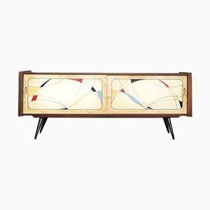 Handbemaltes niederländisches Walnuss Sideboard, 1950er