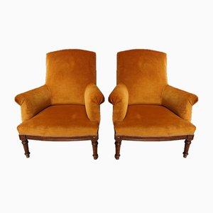 Vintage French Orange Velvet & Walnut Lounge Chairs, Set of 2