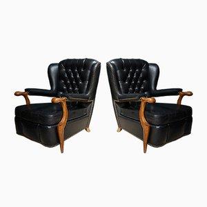 Club chair Chesterfield in similpelle nera, Francia, anni '40, set di 2