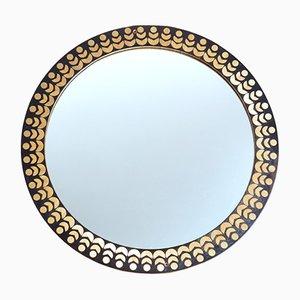 Specchio da parete rotondo Mid-Century con cornice in legno intarsiato