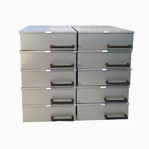 Vintage Industrial Metal Boxes, 1970s, Set of 10