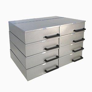 Vintage Industrial Metal Boxes, 1970s, Set of 8