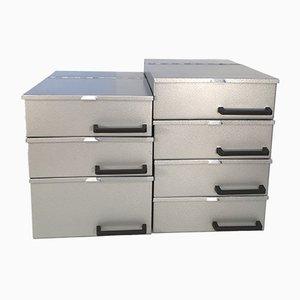 Vintage Industrial Metal Boxes, 1970s, Set of 7
