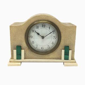 Horloge de Table Art Déco en Galuchat et Malachite, France, 1930s