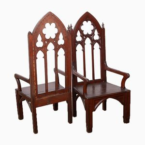 Antique Gothic Armchairs, Set of 2