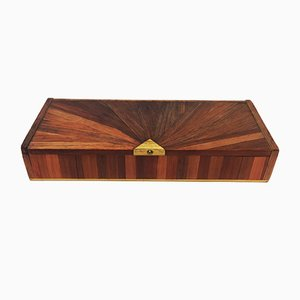 French Straw Marquetry Box by Jean-Michel Frank, 1930s