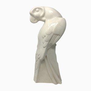 Escultura de loro francesa Art Déco de Leroux, años 30