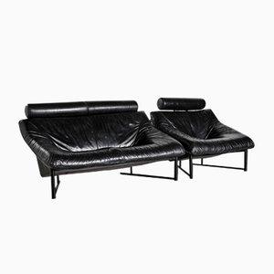 Juego de sofá vintage de cuero negro, años 80