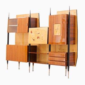 Libreria con scomparti e mobile bar Mid-Century moderna in ottone e legno, Italia, anni '50