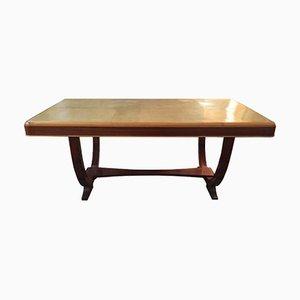 Tavolo vintage in legno di noce e pergamena, Francia, anni '30