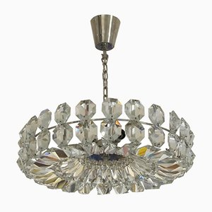 Mid-Century Crystal Glass Ceiling Lamp, 1960s