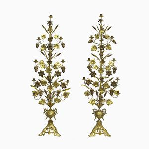 Antique French Gilded Bronze Candlestick Holders, Set of 2