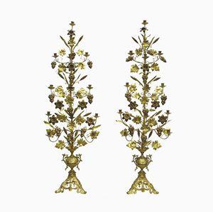 Candeleros franceses antiguos de bronce dorado. Juego de 2