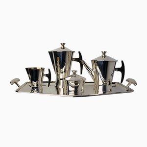 Juego de té y café Avant-Garde bañado en plata de Delheid Frères, años 50