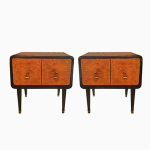 Rosewood and Briar Root Bedside Tables, 1940s, Set of 2