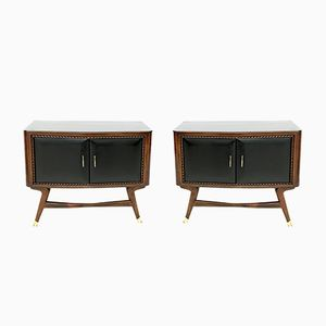 Black Walnut & Ebonized Wood Nightstands with a Glass Top, 1950s, Set of 2