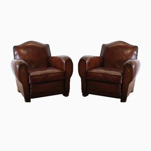 French Club Leather Chairs, 1940s, Set of 2