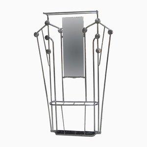 Perchero Art Déco de aluminio con paragüero y espejo