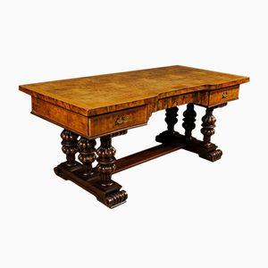 Italienischer vintage Schreibtisch aus Walnuss, Wurzelholz & Mahagoni