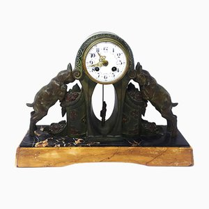 Vintage Bronze and Marble Table Clock, 1930s