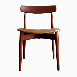 Silla danesa de teca con asiento de cuero sintético, años 50