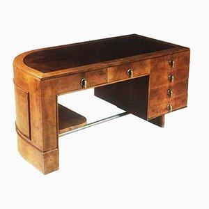 Italienischer vintage Schreibtisch aus Walnuss & Wurzelholz, 1930er