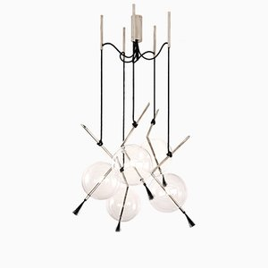 Lámpara de araña Nuvola 5 Special de latón plateado de Silvio Mondino