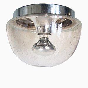 Lámpara de techo o pared de vidrio ahumado y cromo de Limburg, años 70