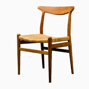 Model W2 Oak & Woven Cane Side Chair by Hans J. Wegner for C.M. Madsen, 1953