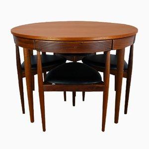 Tavolo e 4 sedie da pranzo Roundette 630 Mid-Century di Hans Olsen per Frem Røjle, anni '50