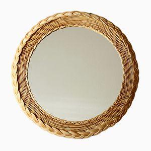 Espejo Mid-Century circular de ratán