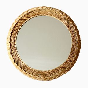 Mid-Century Circular Rattan Mirror