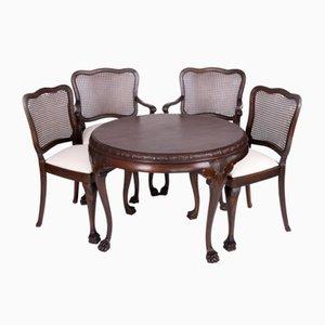 Antiker Tisch und 4 Stühle im Chippendale Stil