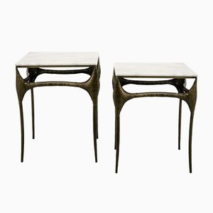 Brutalist Bronzed Side Tables with Marble Tops, 1960s, Set of 2