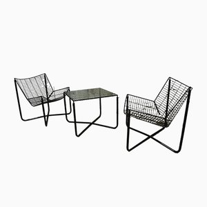 Jarpen Armchairs with Coffee Table by Niels Gammelgaard for Ikea, 1980s, Set of 2