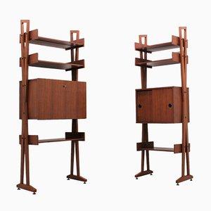 Mueble de pared Mid-Century de teca. Juego de 2